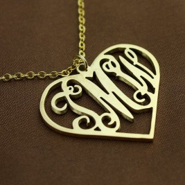 18ct Gold Plated Silver 925 Initial Monogram Personalised Heart Necklace-Single Hook