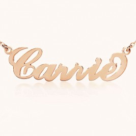 Personalised Carrie Name Necklace 18ct Solid Rose Gold