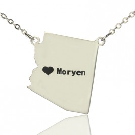 Custom Arizona State Shaped Necklaces With Heart  Name Silver