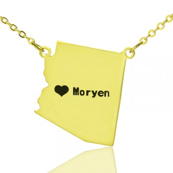 Custom Arizona State Shaped Necklaces With Heart  Name Gold Plated