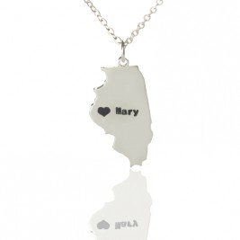 Personalised Illinois State Shaped Necklaces With Heart  Name Silver