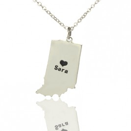 Custom Indiana State Shaped Necklaces With Heart  Name Silver