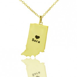 Custom Indiana State Shaped Necklaces With Heart  Name Gold Plated