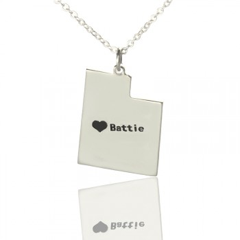 Utah State Necklaces With Heart  Name Silver