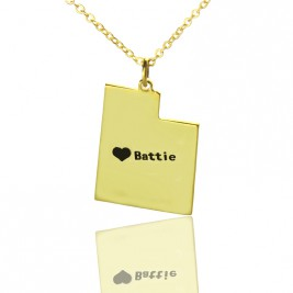 Custom Utah State Shaped Necklaces With Heart  Name Gold Plated