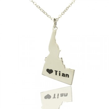 The Idaho State USA Map Necklace With Heart  Name Silver