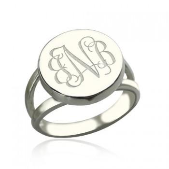 Sterling Silver Circle Monogram Signet Ring