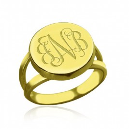 18ct Gold Plated Circle Monogram Signet Ring