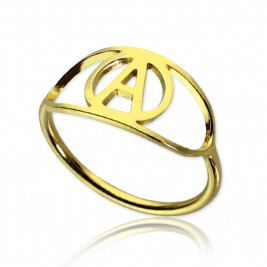 Personalised Eye Rings with Initial 18ct Gold Plated