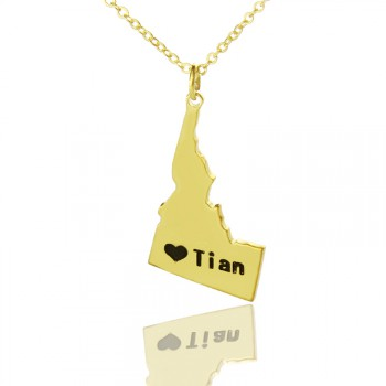 The Idaho State USA Map Necklace With Heart  Name Gold Plated