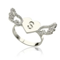 Heart Angel Wings Ring Engraved Initial  Birthstone Sterling Silver