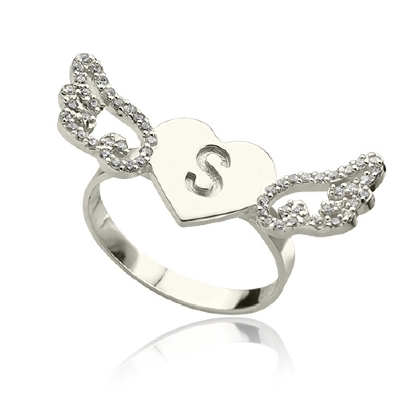 heart angel wings ring engraved initial birthstone. Black Bedroom Furniture Sets. Home Design Ideas