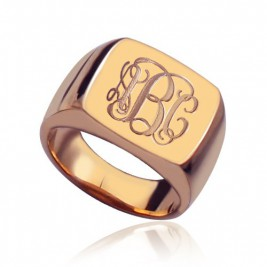 Square Script Monogram Initial Ring Rose Gold