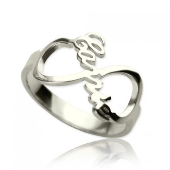 Personalised Infinity Nameplate Ring Sterling Silver
