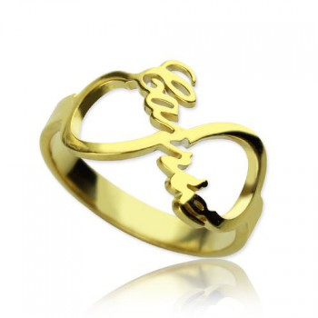 Custom Infinity Name Ring 18ct Gold Plated