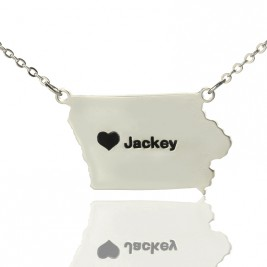 Iowa State USA Map Necklace With Heart  Name Silver