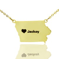 Iowa State USA Map Necklace With Heart  Name Gold Plated