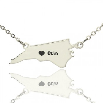 Personalised NC State USA Map Necklace With Heart  Name Silver
