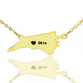 Personalised NC State USA Map Necklace With Heart  Name Gold Plated