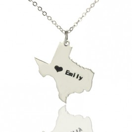 Texas State USA Map Necklace With Heart  Name Silver