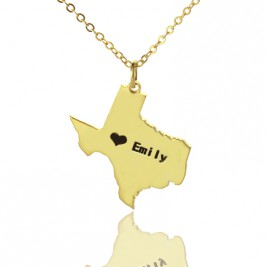 Texas State USA Map Necklace With Heart  Name Gold Plated