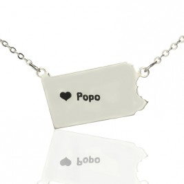 Personalised Pennsylvania State USA Map Necklace With Heart  Name Silver