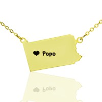 Personalised PA State USA Map Necklace With Heart  Name Gold Plated