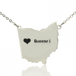 Custom Ohio State USA Map Necklace With Heart  Name Silver