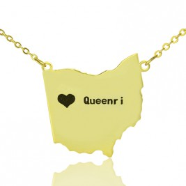 Custom Ohio State USA Map Necklace With Heart  Name Gold Plated