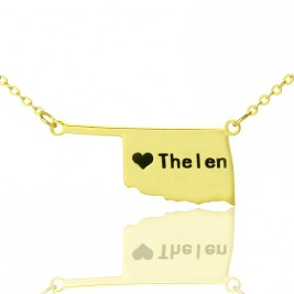 America Oklahoma State USA Map Necklace With Heart  Name Gold Plated