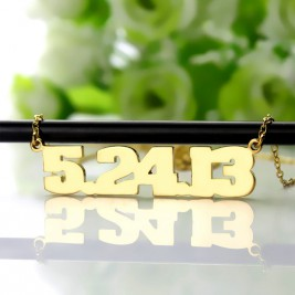 Gold Plated Silver Number Necklace