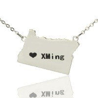 Custom Oregon State USA Map Necklace With Heart  Name Silver