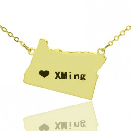 Custom Oregon State USA Map Necklace With Heart  Name Gold Plated