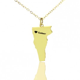 Custom Vermont State USA Map Necklace With Heart  Name Gold Plated