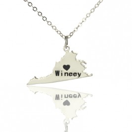 Virginia State USA Map Necklace With Heart  Name Silver
