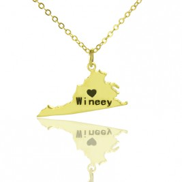 Virginia State USA Map Necklace With Heart  Name Gold Plated