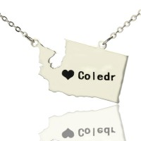 Washington State USA Map Necklace With Heart  Name Silver