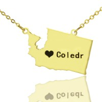 Washington State USA Map Necklace With Heart  Name Gold Plated