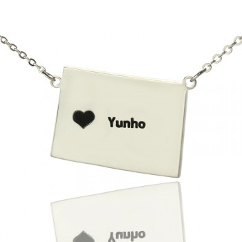Wyoming State Shaped Map Necklaces With Heart  Name Silver