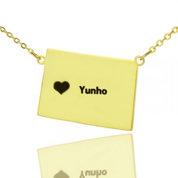 Wyoming State Shaped Map Necklaces With Heart  Name Gold Plated