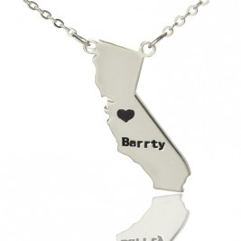 California State Shaped Necklaces With Heart  Name Silver