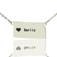 Custom Kansas State Shaped Necklaces With Heart  Name Silver