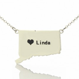 Connecticut State Shaped Necklaces With Heart  Name Silver