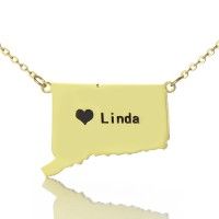 Connecticut State Shaped Necklaces With Heart  Name Gold Plate