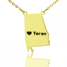 State USA Map Necklace With Heart  Name Gold Plated Silver