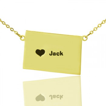 Colorado State Shaped Necklaces With Heart  Name Gold Plated