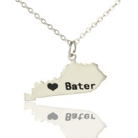 Custom Kentucky State Shaped Necklaces With Heart  Name Silver