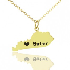 Custom Kentucky State Shaped Necklaces With Heart  Name Gold Plated