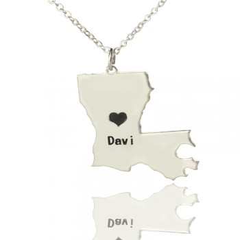 Custom Louisiana State Shaped Necklaces With Heart  Name Silver