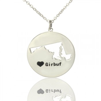Custom Maryland Disc State Necklaces With Heart  Name Silver